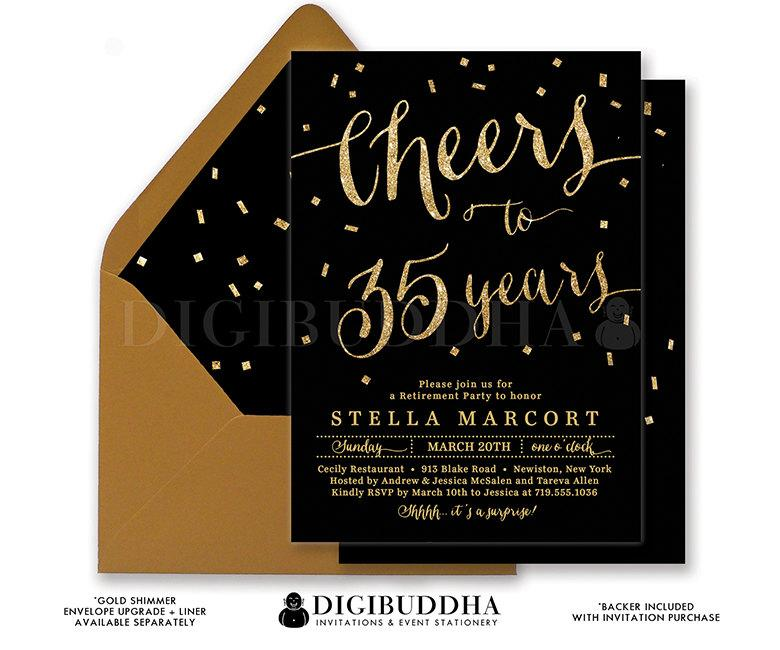 Hochzeit - BLACK & GOLD RETIREMENT Invitation Elegant Cheers to Years Gold Glitter Confetti Surprise Calligraphy Free Shipping or DiY Printable- Stella