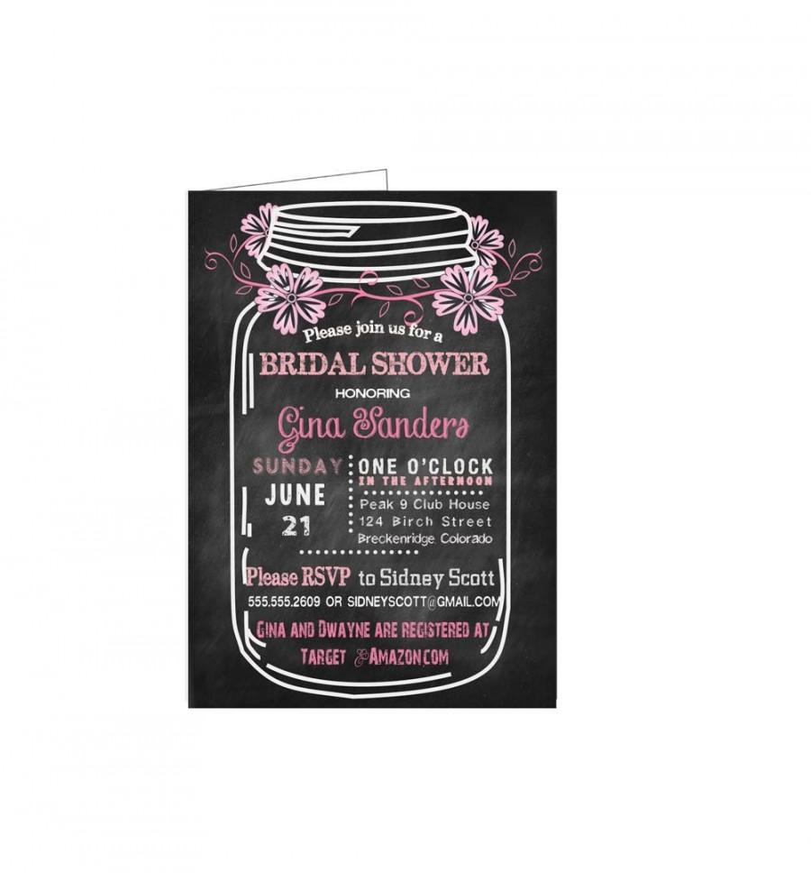 Hochzeit - Bridal Shower Invitation Printable Chalkboard Mason Jar