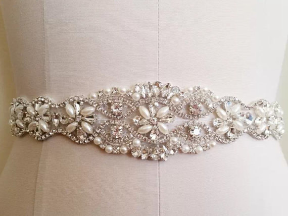 Hochzeit - Wedding Sash Belt, Bridal Sash Belt - Crystal Sash Belt