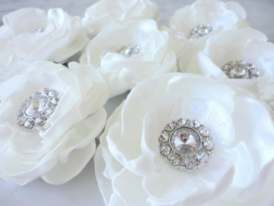 White Hair Flower Ivory Wedding Headpiece Accessories Bridal Head Piece Off