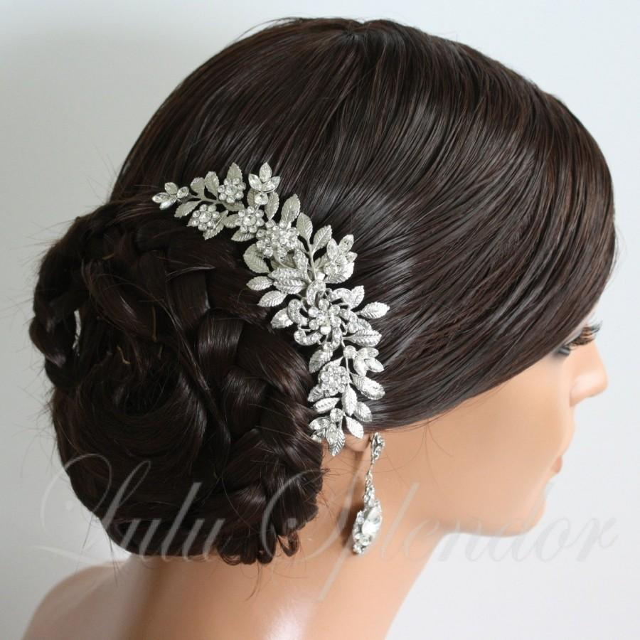 Свадьба - Wedding Hairpiece Leaf Bridal Hair Comb Leaf Comb Swarovski Crystal Vintage Wedding Hair Accessory LEAFY SABINE