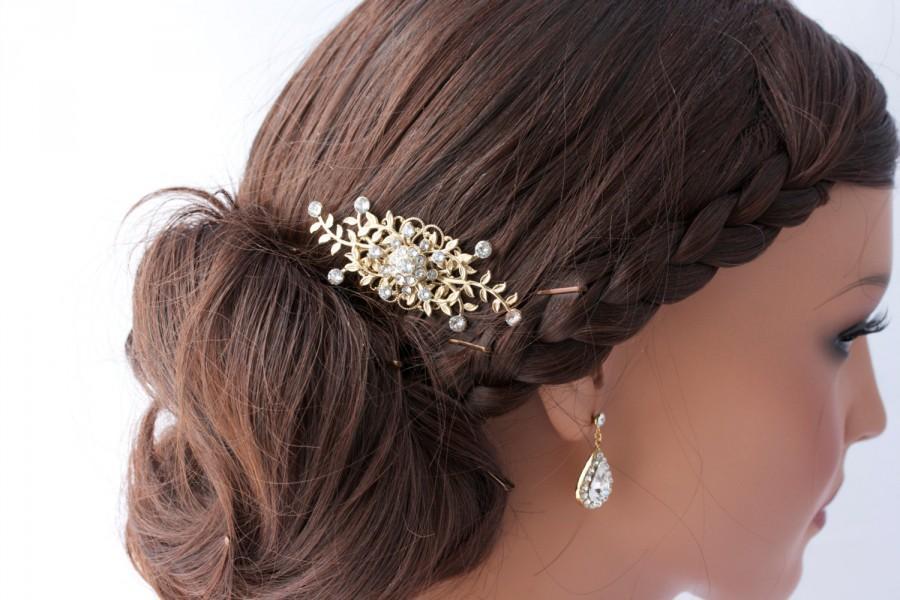 Small Rhinestone Hair Comb Leaves Wedding Accessories Gold Leaf Clip Bridal GENOA