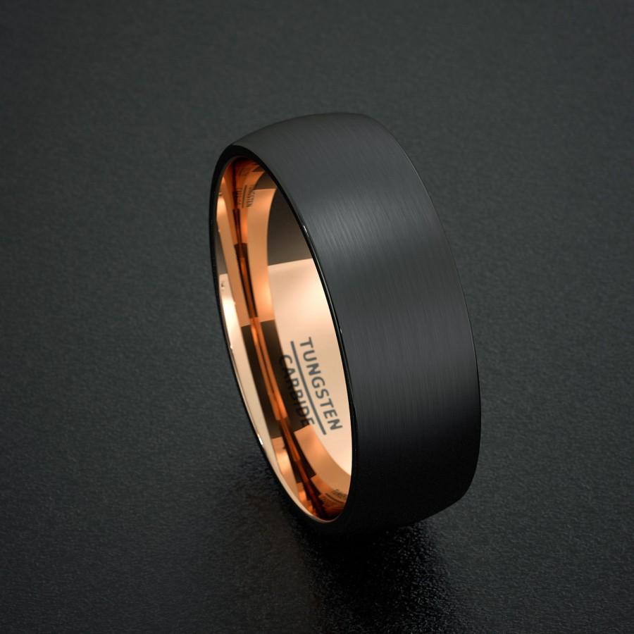 Mens Wedding Band Tungsten Ring Two Tone 8mm Rose Gold Inside Matted Brushed Surface Dome