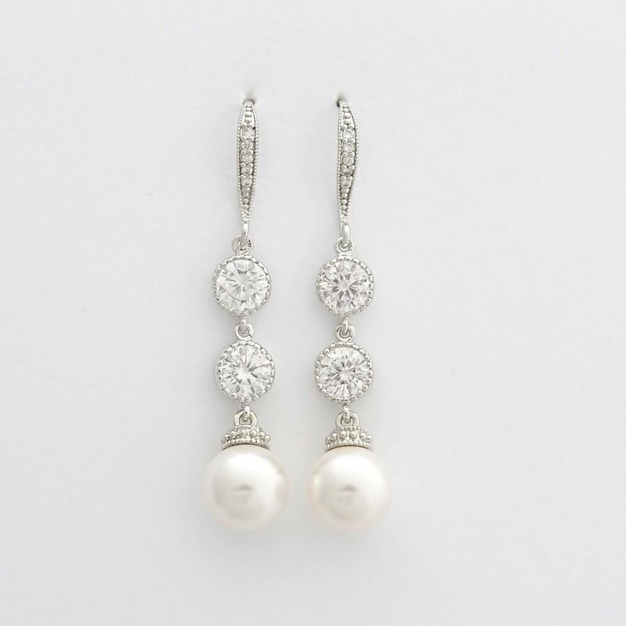 Bridal Earrings Pearl Dangle Wedding Jewelry Cubic Zirconia Silver Aubrey