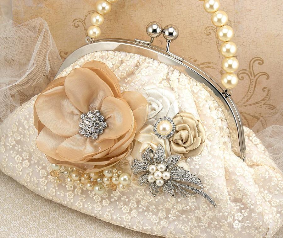 Purse Lace Vintage Style Ivory Cream Tan Champagne Handbag Bag Elegant Wedding Mother Of The Bride Brooch Pearls Crystals