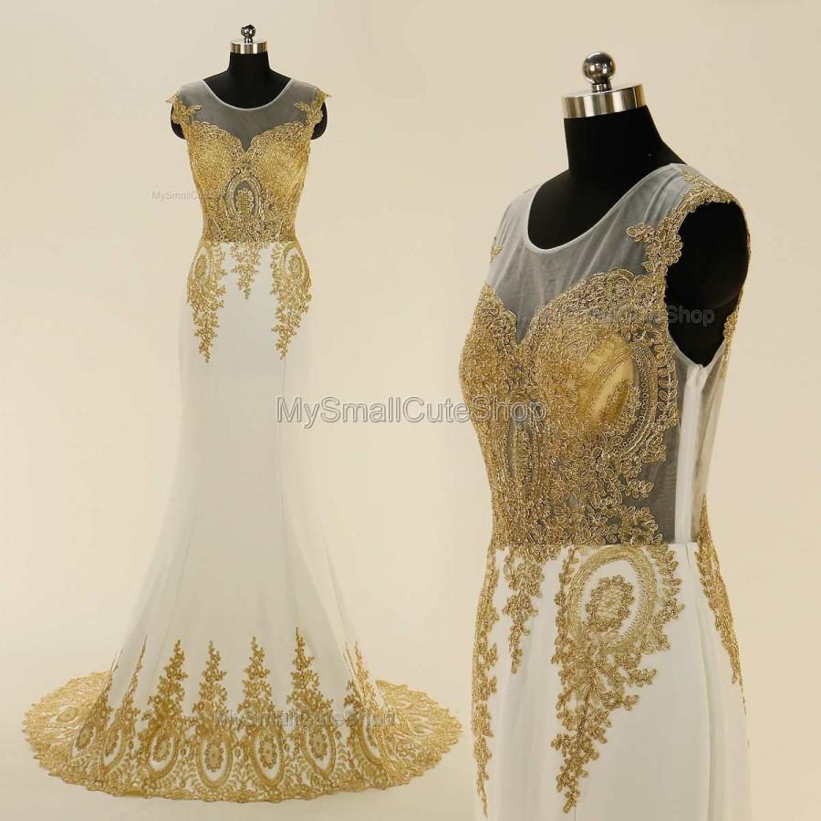 665645a4ef44 White and Golden prom dress,lace applique bridesmaid dresses,mermaid formal  dress,long party dress,evening dress,elegant women's dress