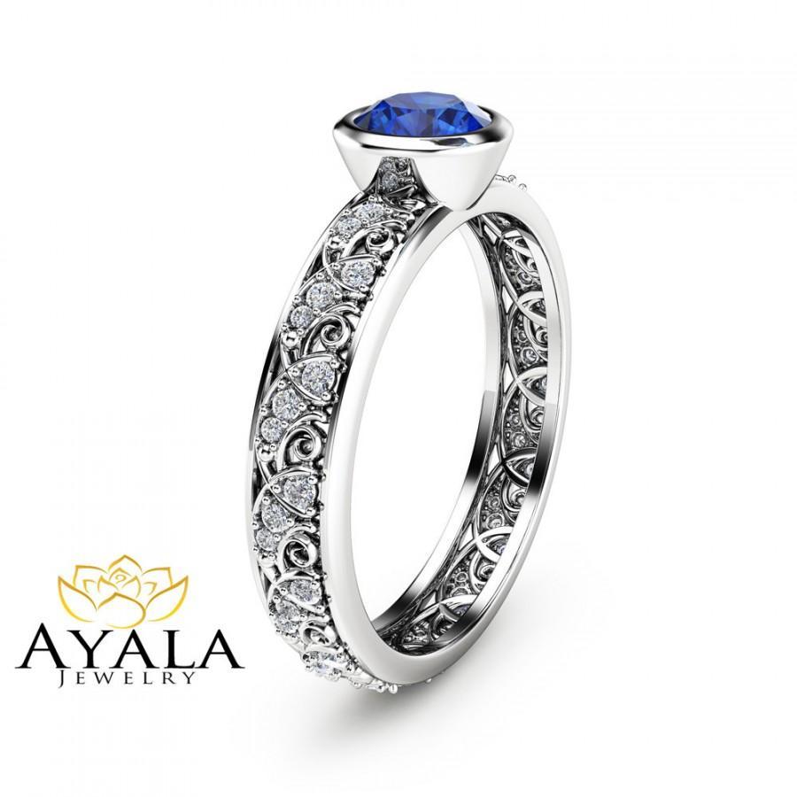 Wedding - Natural Blue Sapphire Bezel Ring Unique Engagement Ring in 14K White Gold Blue Sapphire Bezel Ring