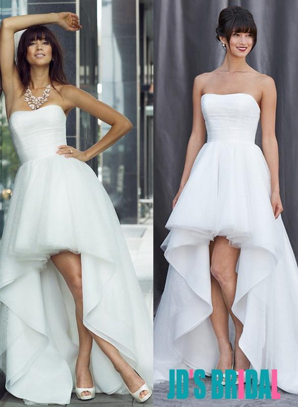 Boda - H1686 Simply strapless high low hem beach boho wedding dress