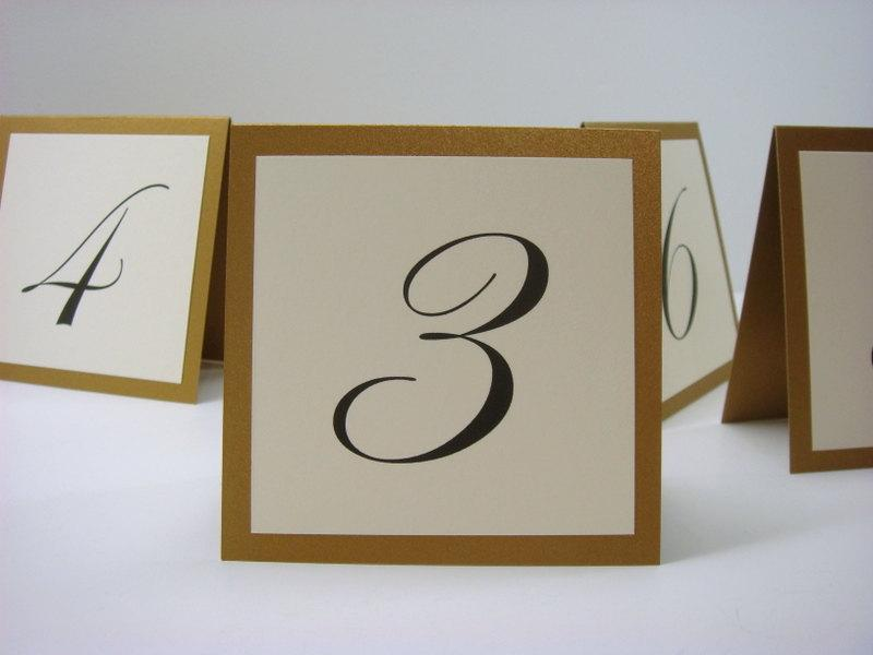 Свадьба - Wedding Table Number Small Tented Design Prepared in Colors to Coordinate with your Wedding Reception Decor  3.5 x 3.5 Size