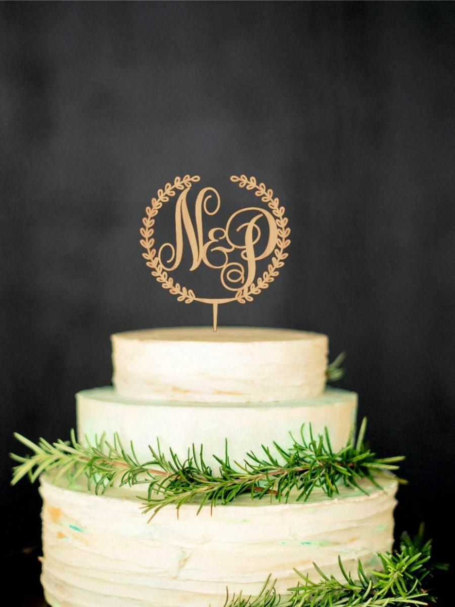 wooden monogram cake topper custom initial cake topper wedding monogram cake topper gold cake. Black Bedroom Furniture Sets. Home Design Ideas