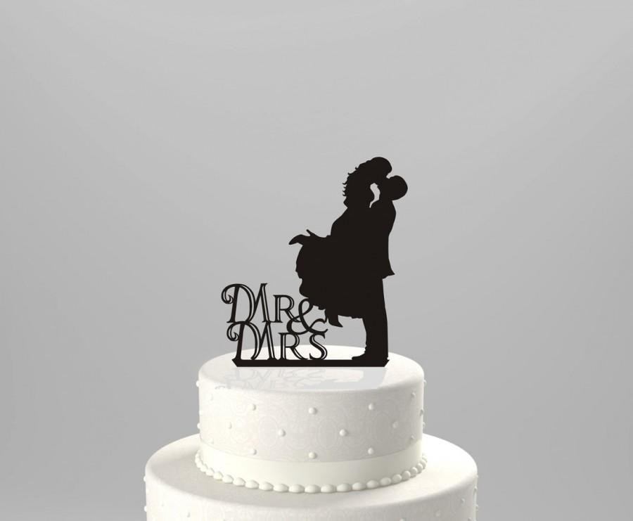 Hochzeit - Wedding Cake Topper Silhouette Couple Mr & Mrs, Acrylic Cake Topper [CT3]
