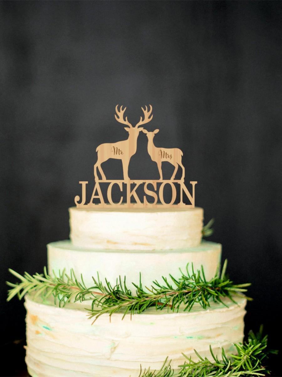 Hochzeit - Deer Wedding Cake Topper Mr Mrs Personalized Cake Topper Rustic Wedding Cake Topper Deer Silhouette Cake Topper Country Cake Topper