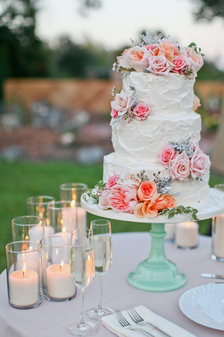 Vintage Rustic Wedding Cake On Teal Stand We Added Lots Of Pillar Candles For Effect Events By Evelynn Photo Lovisa