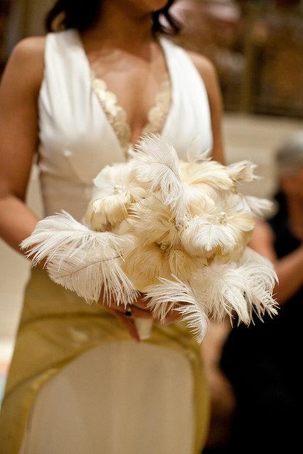 Hochzeit - SALE The Marlo Art Deco Inspired Large Feather Bridal Bouquet - made to order for YOU
