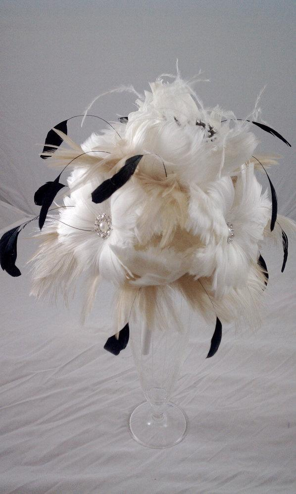 Wedding - The Marissa Feather Bouquet Made to Order for you