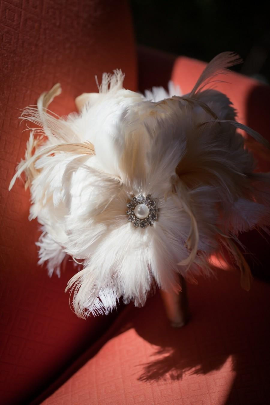 Свадьба - Large Peony Feather Bridal Bouquet - made to order for YOU
