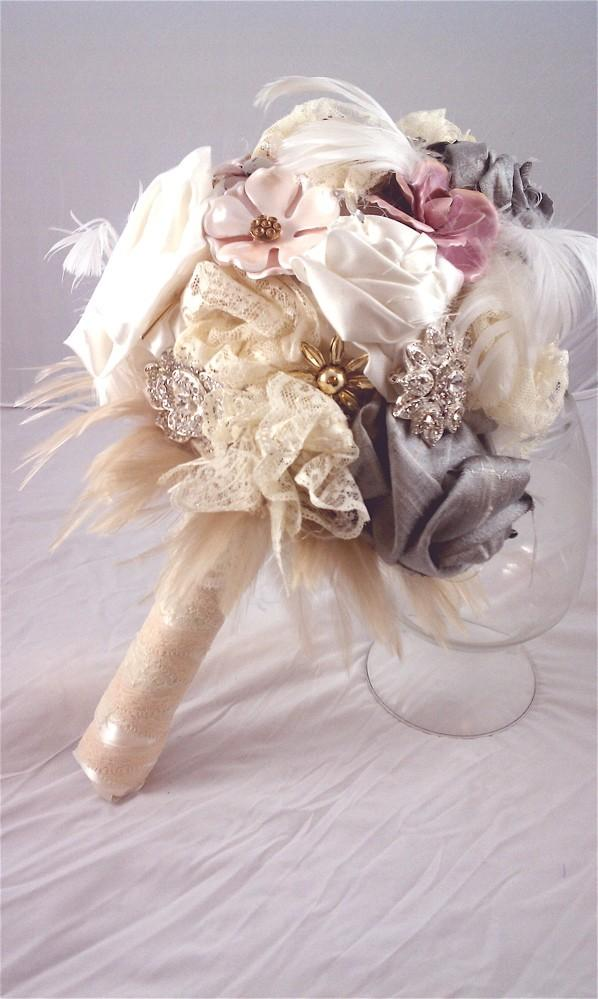 Свадьба - SALE Victorian brooch, feather and fabric bouquet featured on Etsy's Front Page - Made to Order just for you