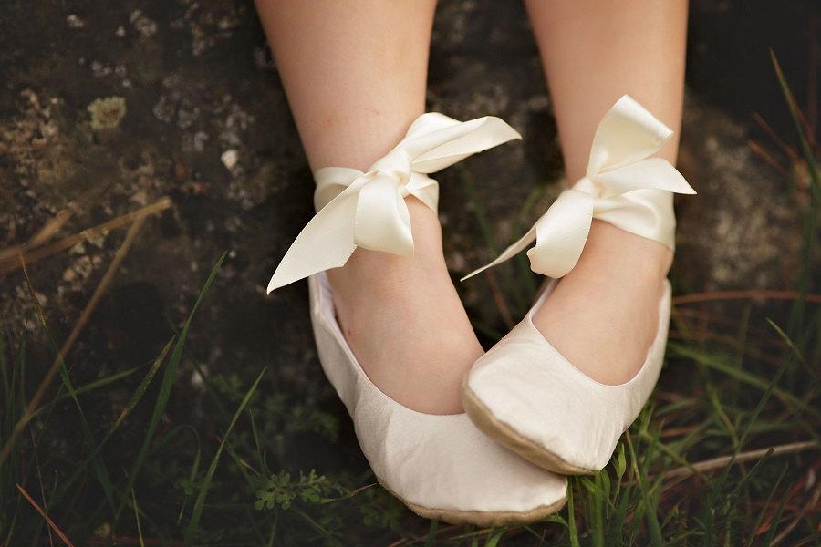 Satin Ballerina Flower Girl Shoe Ivory Satin Flower Girl