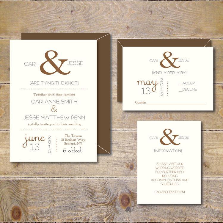 Mariage - Ampersand Wedding Invitations . Wedding Invitations . Wedding Invites . Rustic Wedding Invitations . Ampersand Wedding  - Ampersand