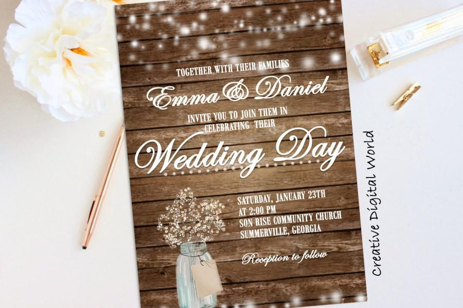 rustic wedding invitation printable string lights baby s breath