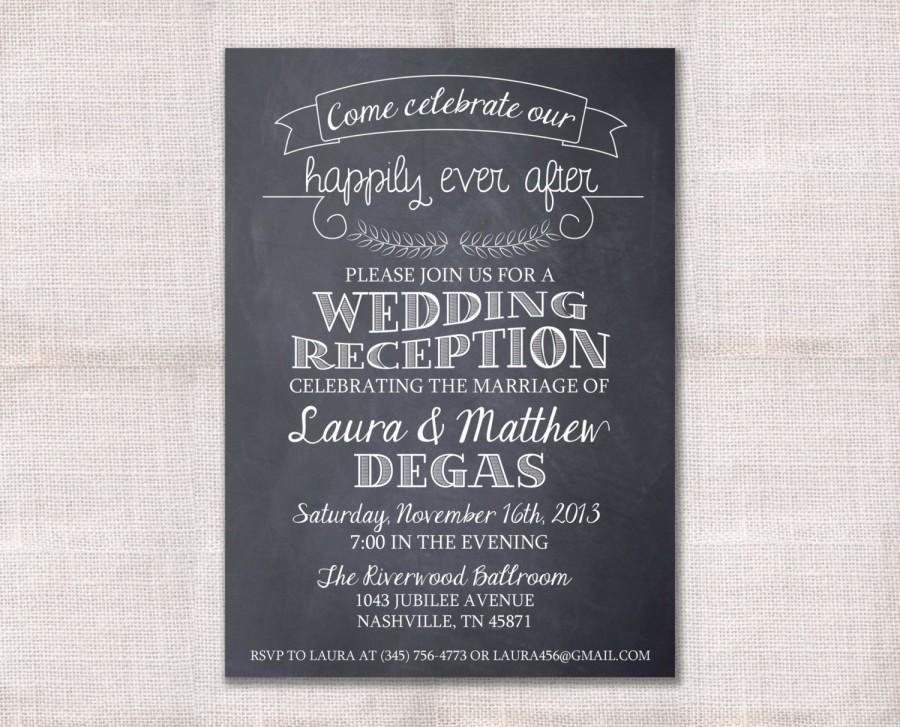 Wedding Reception, Celebration, After Party Invitation Custom ...