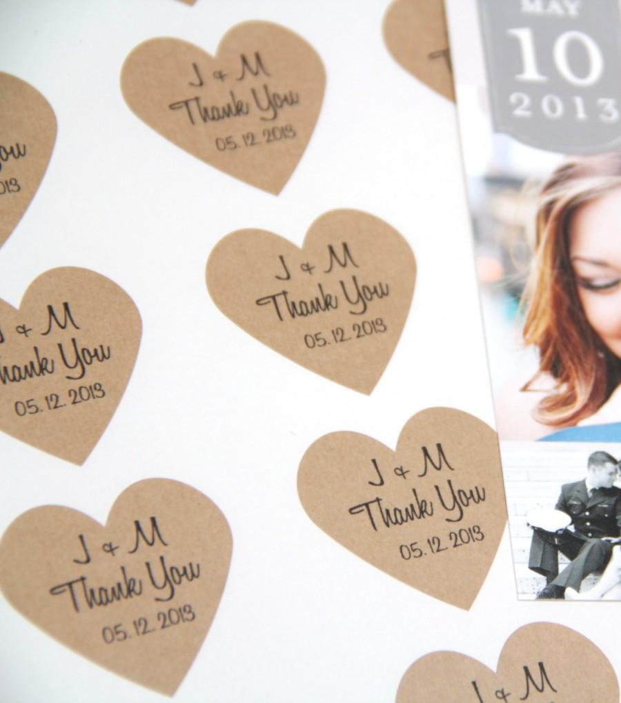 Thank You Wedding Heart Stickers - Initials And Date - Wedding ...