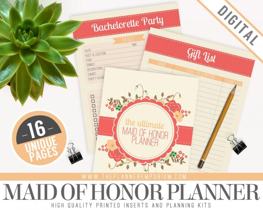 Hochzeit - Ultimate Maid of Honor Wedding Planner Organizer Kit - Instant Download - Printable DIY - 16 Unique Pages - Bridesmaids, Budgets and More
