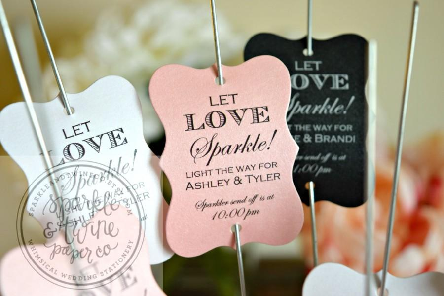 Sparkler Tags Labels Let Love Sparkle Wedding Firework