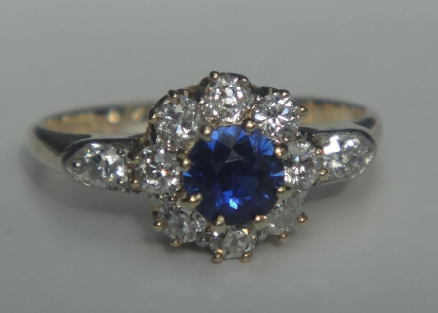 Свадьба - Incredible Victorian Natural Blue Sapphire and Diamond Ring! 18k Yellow Gold and Platinum Setting. Engagement. Antique.  Size 5.