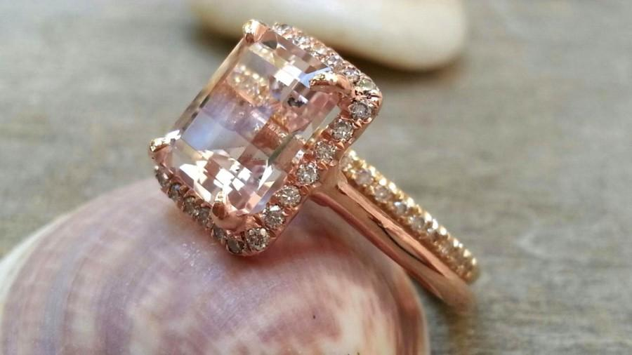 morganite engagement ring set 7x9mm emerald cut morganite ring half eternity diamond wedding ring set gemstone ring set 2 hearts - Morganite Wedding Ring Set