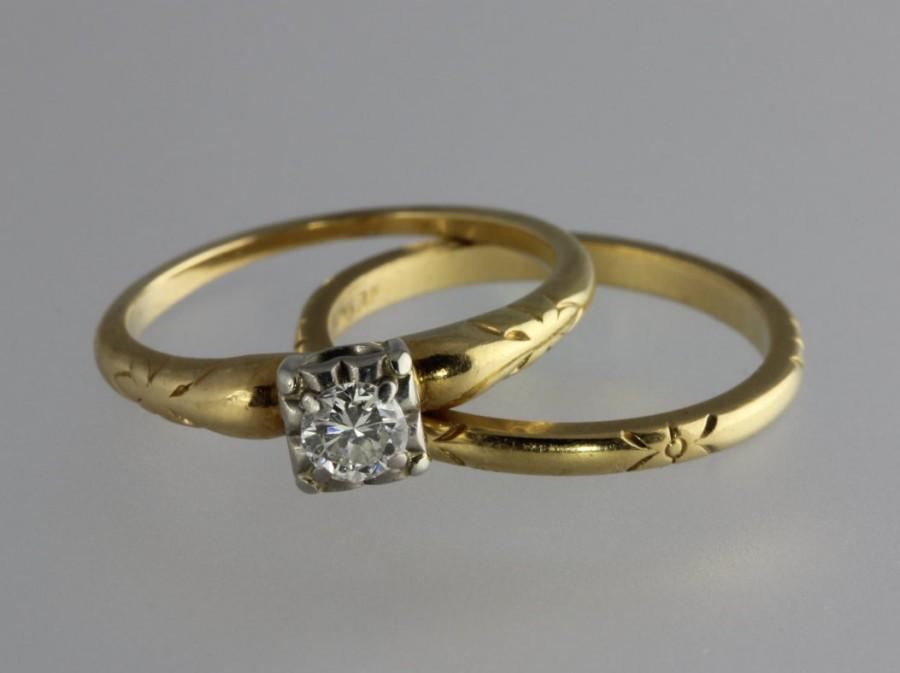 Vintage JABEL Round Brilliant Diamond And 14k Yellow Gold Engagement Ring Wedding Band Size 525 Appraisal Included