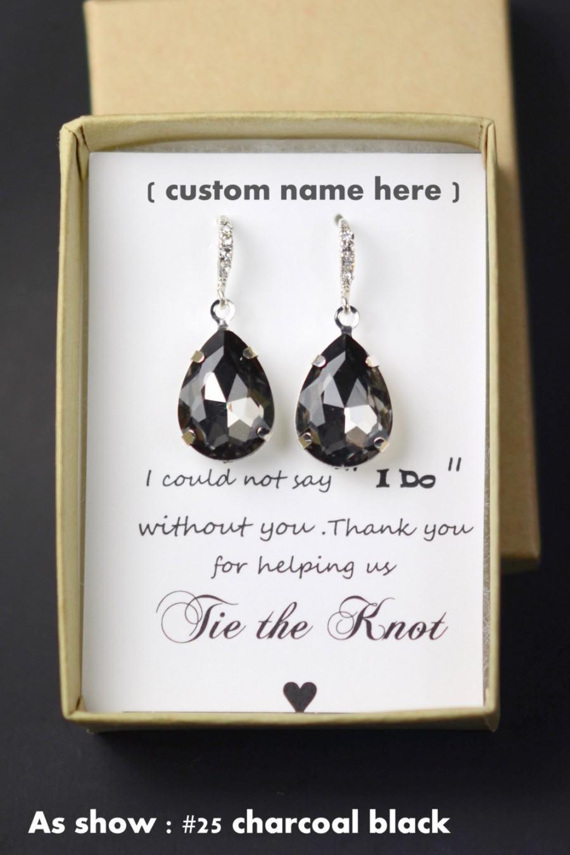 Mariage - Black wedding ,Black Drop Earrings, Black Bridesmaid Earrings,Black Earrings,Black Gold Earring,Black Earrings ,Gold Bridesmaid Earring