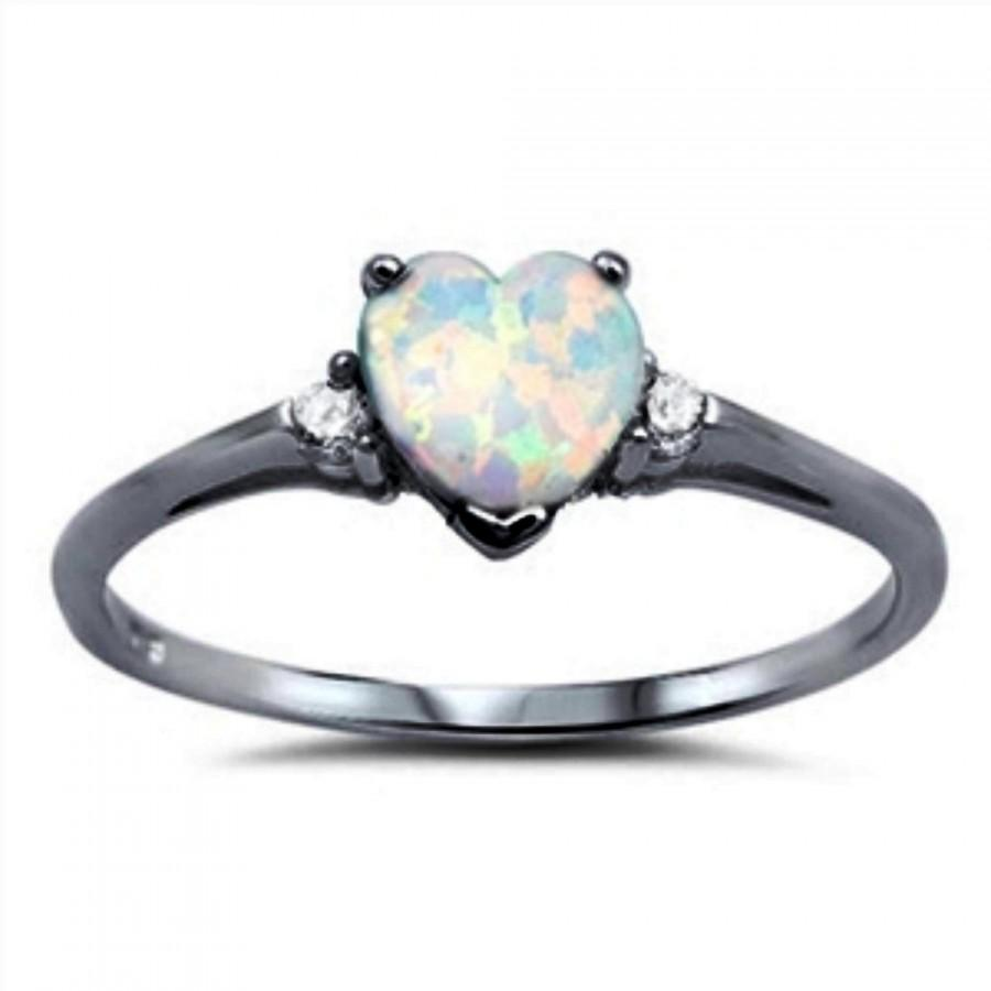 Mariage - Promise Ring Black Gold Solid 925 Sterling Silver Round Russian Diamond CZ Three stone 0.84CT Heart Shape Lab Created  White Opal Love Gift