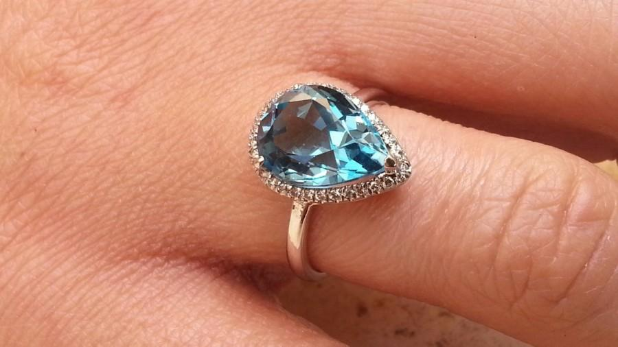 Свадьба - Solitaire Floral Blue Topaz Engagement Ring Diamond Band Drop cut Cocktail ring jewelry Unique halo rind Dressy occasions Hollywood regency