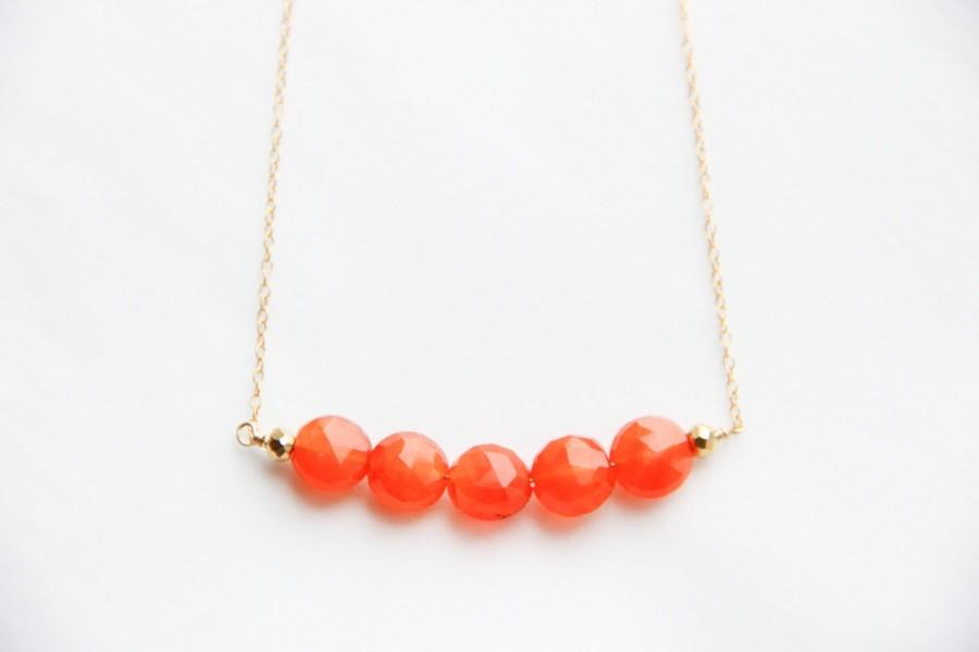 Mariage - Carnelian Gold Bar Necklace