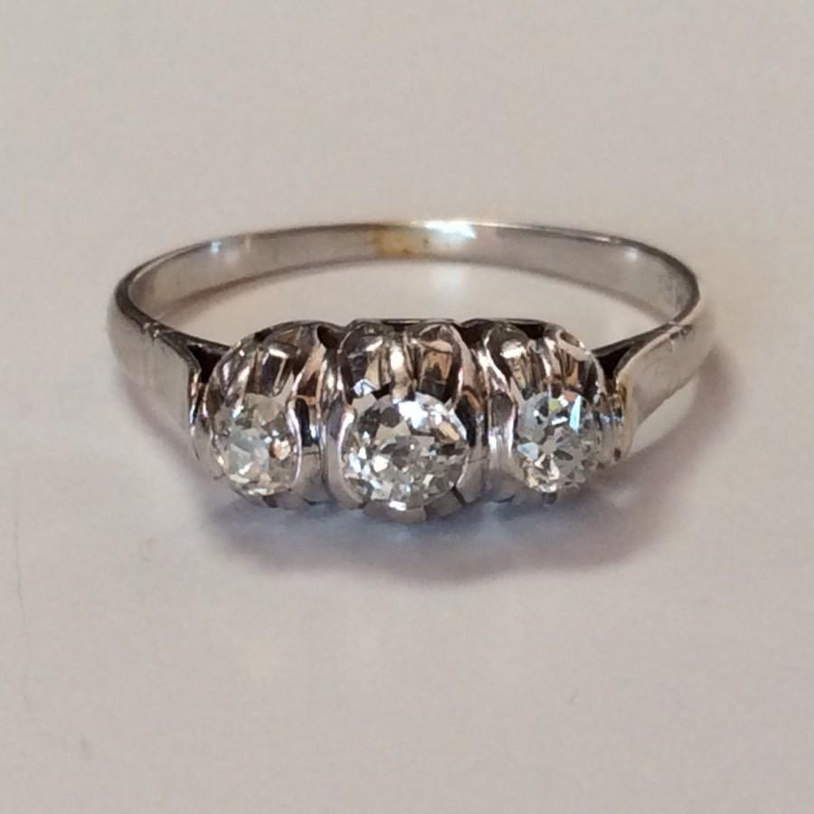 Mariage - Antique 3 Stone Victorian Diamond and 18k White Gold Engagement or Wedding Ring. Approx. .60cttw in Mine Cut Diamonds. Gorgeous!