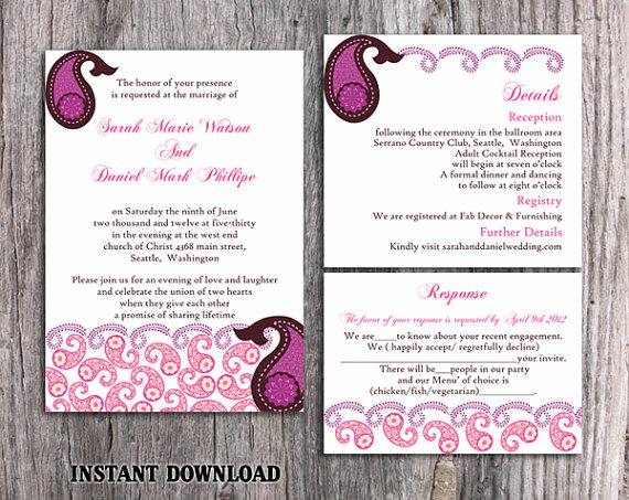 Boda - DIY Bollywood Wedding Invitation Template Set Editable Word File Download Eggplant Wedding Invitation Indian invitation Bollywood party