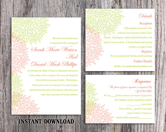 Hochzeit - DIY Wedding Invitation Template Set Editable Word File Instant Download Printable Floral Invitation Red Wedding Invitation Green Invitation