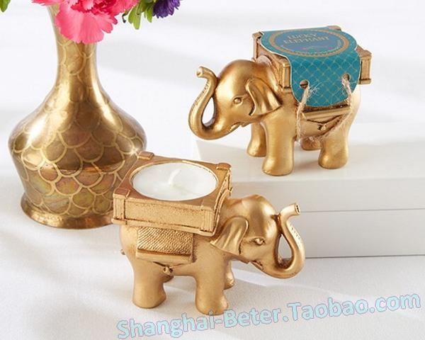 Düğün - Golden Lucky Elephant Candle Holder Wedding Door Favor SZ000