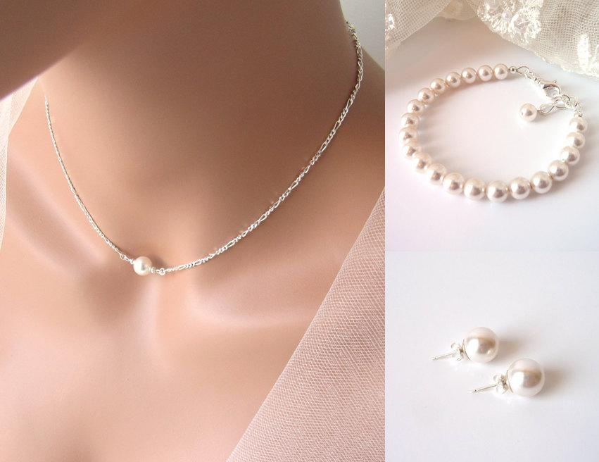 Single Pearl Choker Floating Necklace With Bracelet Earrings Sterling Silver Maid Of Honor Gift Bridesmaid Jewlery Set