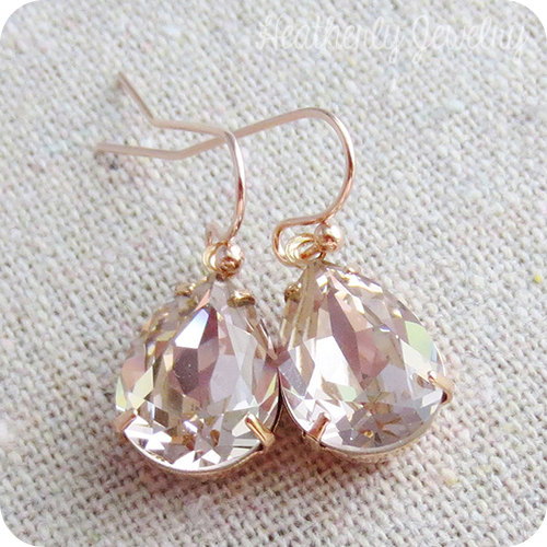 29b24bb2c41e0e Swarovski Crystal Blush Pink Teardrop Simple Delicate Dangling Rose Gold  Bridal Earrings Wedding Jewelry Bridesmaids Gifts