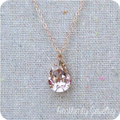 Wedding - Swarovski Blush Pink Teardrop Crystal Rose Gold Necklace, Simple Bridal Jewelry, Wedding Necklace, Bridesmaids Gifts, Tear Pendant