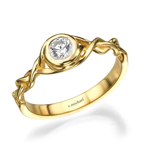 Mariage - Diamond Engagement Ring, Halo Ring, 14K Yellow Gold Ring, Braided Ring, Braided Band, Woman Ring, Wedding Ring, Bridal Jewelry, Band Ring
