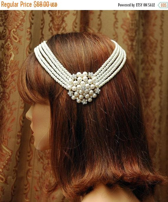 Mariage - SALE Wedding Hair Piece Pearl Bridal Headpiece, Aet Deco Wedding Headpiece, Hair Chain Accessory, Wedding Headband, Bridal Hair Accessories