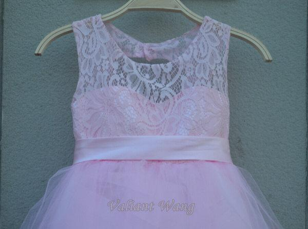 Hochzeit - Lovely Pink Lace Flower Girl Dress Wedding Baby Girls Dress Tulle Rustic Baby Birthday Dress Knee Length