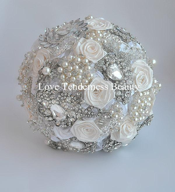 Brooch Bouquet Ivory And Silver Wedding Brooch Bouquet Luxury