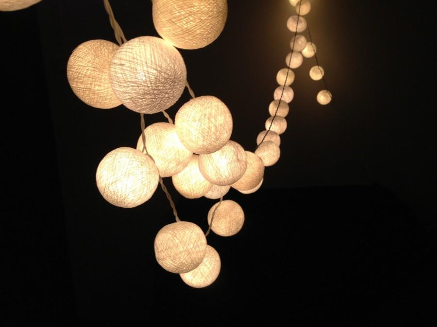 White Cotton Ball String Lights For Patio,Wedding,Party And Decoration (20 Bulbs) #2491070 ...