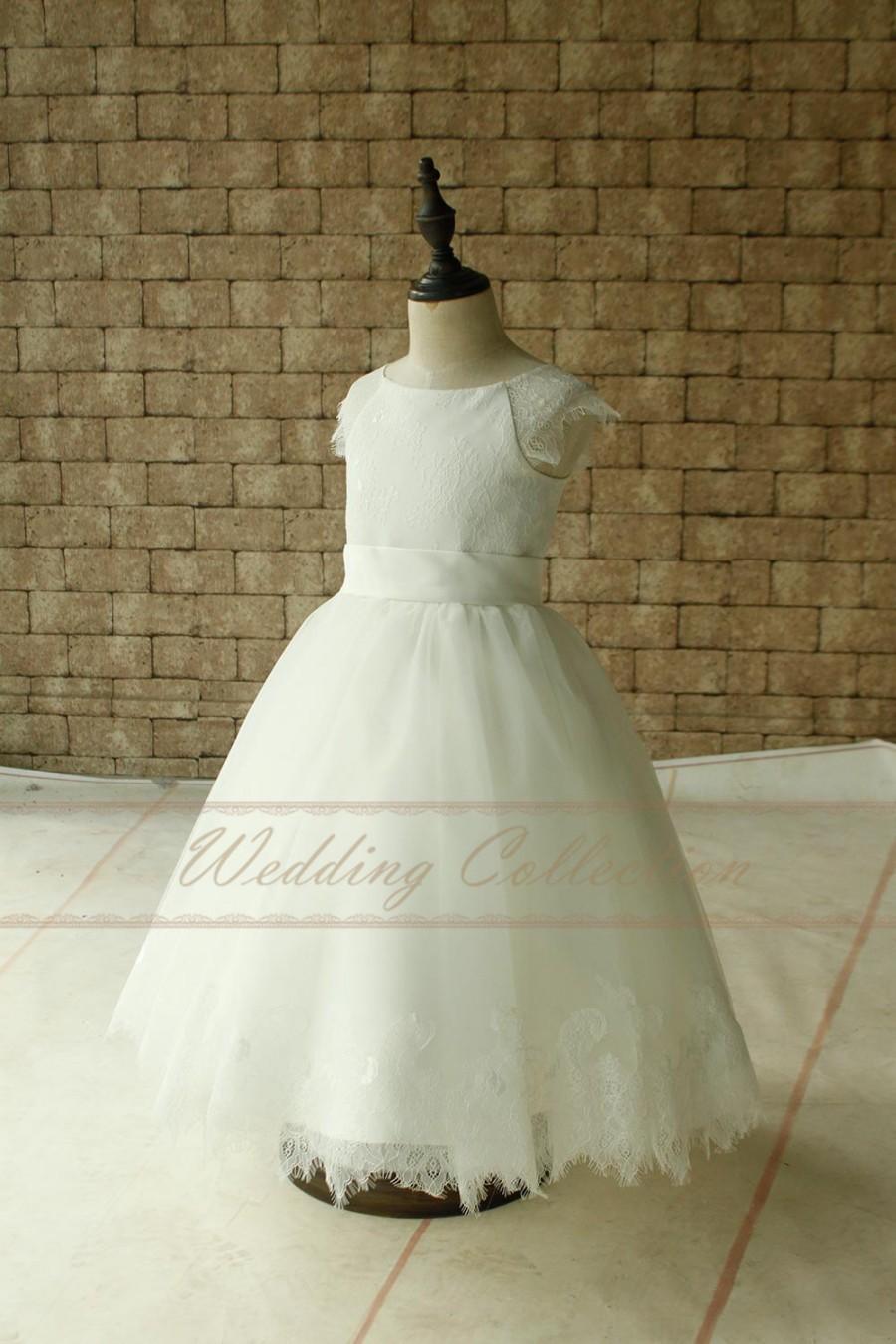 زفاف - Ivory Lace Applique Tulle Flower Girl Dress Brithday Dress
