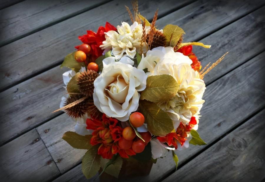 Hochzeit - Rustic Fall Wedding Bridal Bouquet orange ivory burlap and lace wedding flowers