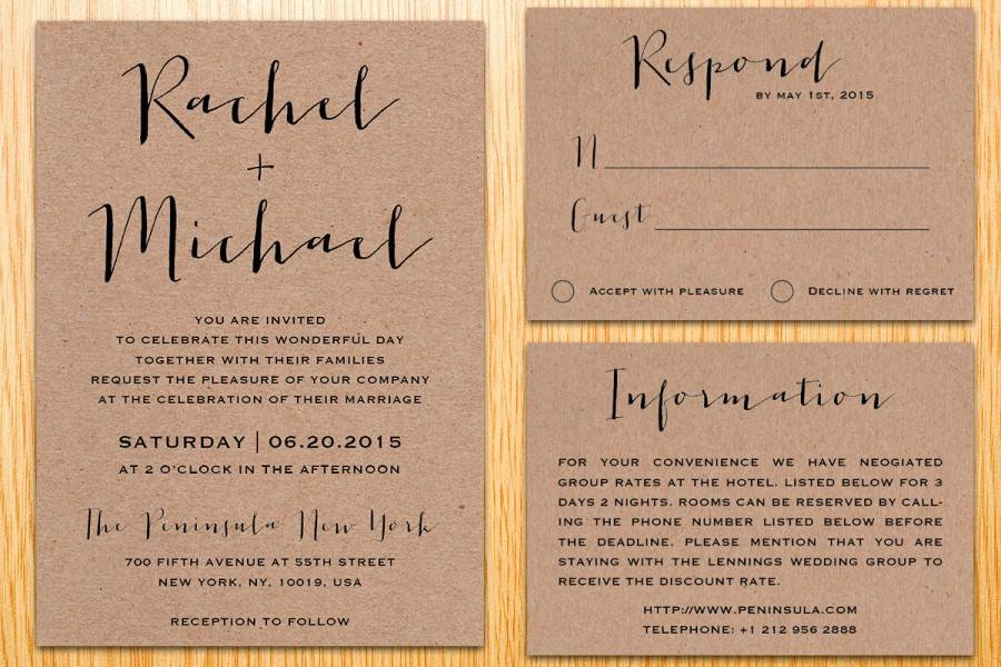 Digital Printable Kraft Paper Wedding Invitation Suite Classic ...